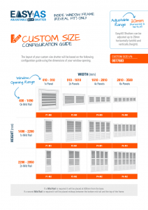 Selecting EasyAS Shutters - Custom Size Selection Guide